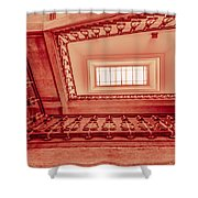 Staircase In Red Shower Curtain