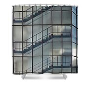 Stairs Behind Glass Shower Curtain