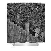 Stairs In Black And White Shower Curtain