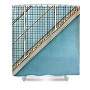Stairs On Blue Wall Shower Curtain