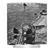 Stairs To Nowhere Pismo Beach Black And White Shower Curtain by Priya Ghose