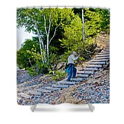 Stairway From Lake Superior Beach To Au Sable Lighthouse In Pictured Rocks National Lakeshore-michig Shower Curtain