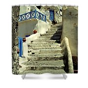 Stairway In Santorini Shower Curtain
