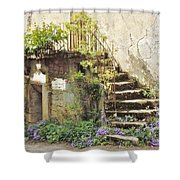 Stairway With Flowers Flavigny France Shower Curtain