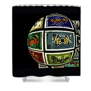 Butterfly Postage Stamp Art Print Shower Curtain