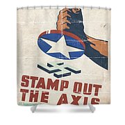 Stamp Out The Axis - Folded Shower Curtain