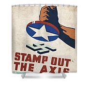 Stamp Out The Axis - Vintagelized Shower Curtain