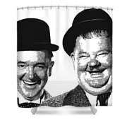 Stan And Ollie - Parallel Hatching Shower Curtain