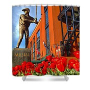 Stan Musial Statue On Opening Day  Shower Curtain