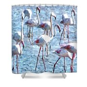 Stand Out In The Crowd Flamingo Watercolor Shower Curtain