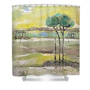 Standing In Distance Shower Curtain