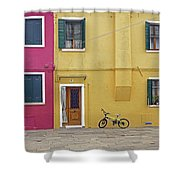 Standing By For A Quick Get Away In Burano Italy Shower Curtain