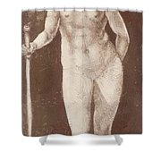 Standing Female Nude With Baton In The Right Shower Curtain