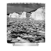 Standing On Lake Michigan Ice Shower Curtain