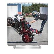 Standing On One Leg Riding Wheelie Shower Curtain