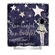 Star Light Star Bright Chalk Board Nursery Rhyme Shower Curtain