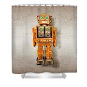 Star Strider Robot Orange Shower Curtain