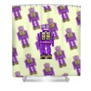Star Strider Robot Purple Pattern Shower Curtain