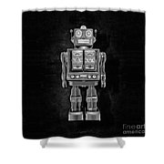 Star Strider Robot Red Bw Shower Curtain