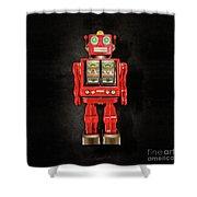 Star Strider Robot Red On Black Shower Curtain