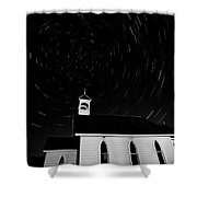 Star Tracks Over Saint Columba Anglican Country Church Shower Curtain