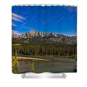 Star Trails Above The Front Ranges Shower Curtain