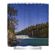Star Trails And Moonbow Over Bow Falls Shower Curtain