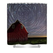 Star Trails At The Red Barn Shower Curtain