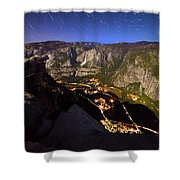Star Trails At Yosemite Valley Shower Curtain