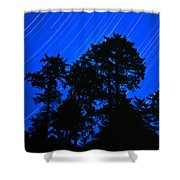 Star Trails Behind Ruby Beach Tree Group Shower Curtain