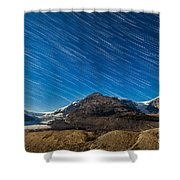 Star Trails Over Columbia Icefields Shower Curtain