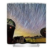 Star Trails Over Custer Observatory Shower Curtain