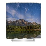 Star Trails Over Patricia Lake Shower Curtain