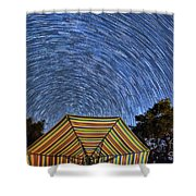 Star Trails Over The Umbrellas Shower Curtain