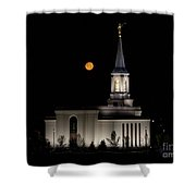 Star Valley Wyoming Temple -  Grain Harvest Moon Shower Curtain