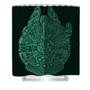 Star Wars Art - Millennium Falcon - Blue Green Shower Curtain