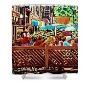 Starbucks Cafe On Monkland Montreal Cityscene Shower Curtain