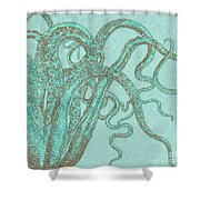 Stardust Tentacles, Aqua Watercolor Octopus Coated With Stardust Shower Curtain