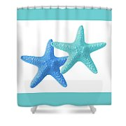 Starfish Blue And Turquoise On White Shower Curtain