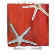 Starfish On Red Shower Curtain