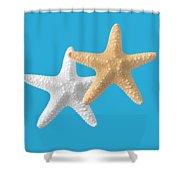 Starfish On Turquoise Shower Curtain