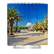 Stari Grad On Hvar Island Palm Waterfront Shower Curtain