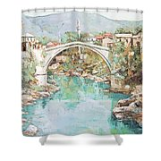 Stari Most Bridge Over The Neretva River In Mostar Bosnia Herzegovina Shower Curtain