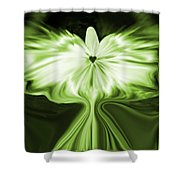 Starlight Angel - Green Shower Curtain