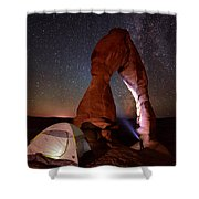 Starlight Tent Camping At Delicate Arch Shower Curtain