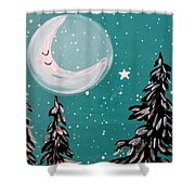 Starry Night Crescent Moon  Shower Curtain