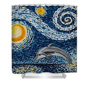 Starry Night Dolphin Shower Curtain