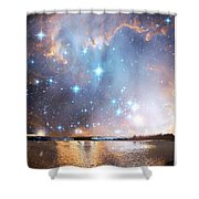 Starry Night Over A Mountain Lake Fantasy Shower Curtain