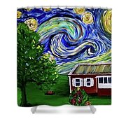 Starry Night Over Grandma's Cabin Shower Curtain