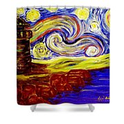 Starry Night Over Nubble Lighthouse  Shower Curtain